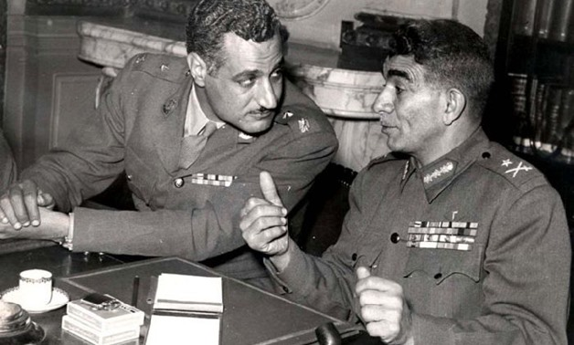 First Egyptian President Mohamed Naguib (R) and his successor Gamal Abdel Nassr (L) during the July 23, 1952 events- CC via Wikimedia