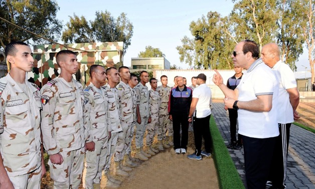 President Abdel Fatah al-Sisi during his visit the Military Academy on Friday - Press Photo