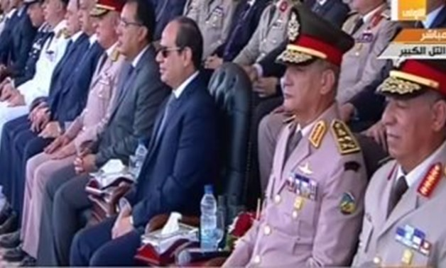 Sisi witnessed on Tuesday July 16 the graduation ceremony of the 157th batch of the Armed Forces non-commissioned officers institute - Screen Shot from Channel one