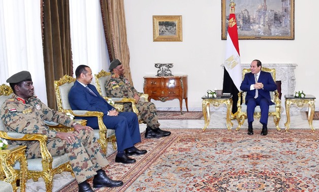 President Abdel Fatah al-Sisi receives on Wednesday Colonel General Hashem Abdel Muttalib Ahmed Babakr, Sudan's army chief of staff, and his accompanying delegation - Press photo