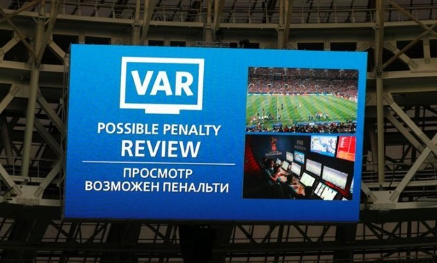 uzhniki Stadium, Moscow, Russia - July 15, 2018 General view of the scoreboard showing a possible penalty review by VAR REUTERS/Kai Pfaffenbach