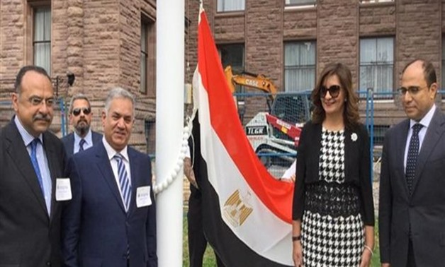 Immigration Minister Nabila Makram raised on Monday the Egyptian flag outside the building of the Legislative Assembly of Ontario in Canada for the first time on the anniversary of the July 23 revolution
