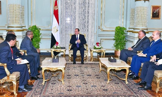 President Abdel Fattah al-Sisi meets with Ethiopia's Foreign Minister Gedu Andargatchew in Cairo, July 25th - Press photo