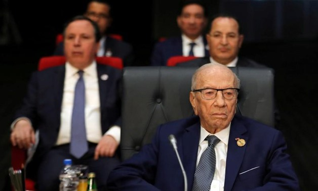 FILE PHOTO: Tunisian President Beji Caid Essebsi attends a summit between Arab league and European Union member states, in the Red Sea resort of Sharm el-Sheikh, Egypt, February 24, 2019. REUTERS/Mohamed Abd El Ghany