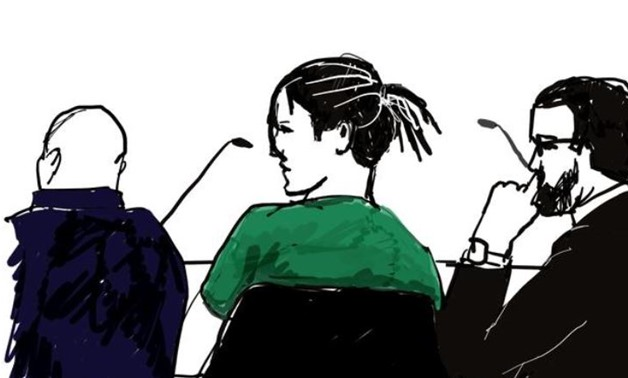 A courtroom sketch shows Rakim Athelaston Mayers alias ASAP Rocky (in green shirt) and his defence lawyer Slobodan Jovicic (R) in the district court in Stockholm, Sweden July 30, 2019. Anna Harvard/TT News Agency/via REUTERS