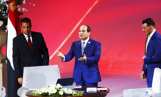 Egypt's President Abdel Fattah al-Sisi has launched the Ask the President session as part of the National Youth Conference held on July 30-31 - Egypt Today/Hussein Talal