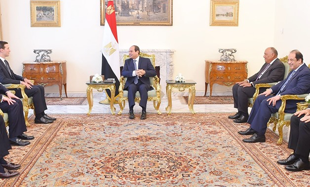 Sisi meets with U.S. President Donald Trump's advisor Jared Kushner and his accompanied delegation on Thursday in Cairo- press photo