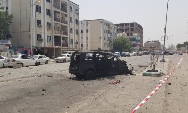 The explosion happened in Omar Al-Mokhtar neighborhood in Aden, during a morning police roll-call. (File/AFP)
