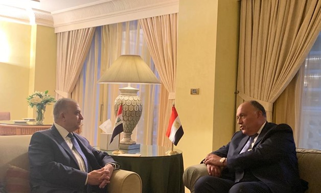 File- Egyptian Foreign Minister Sameh Shoukry (R) meets with his Iraqi Counterpart Mohamed Abdel-Hakim in Cairo on 19 January 2019, Press photo