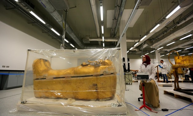 File- the outer golden-plated coffin of ancient Egypt's young king Tutankhamen.