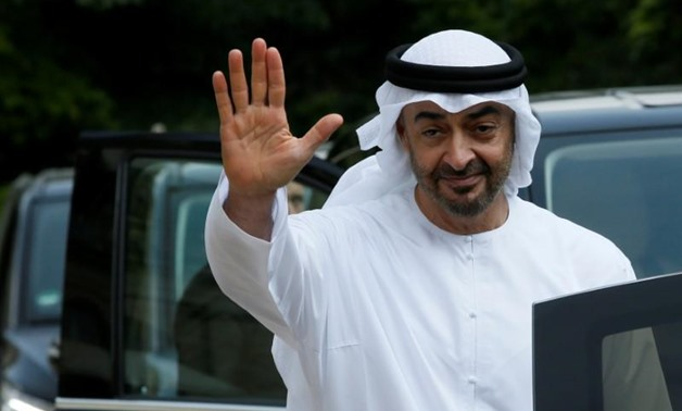 Abu Dhabi's Crown Prince Sheikh Mohammed bin Zayed al-Nahyan waves goodbye after a meeting about Qatar crisis at the Elysee Palace in Paris, France, June 21, 2017. REUTERS/Gonzalo Fuentes