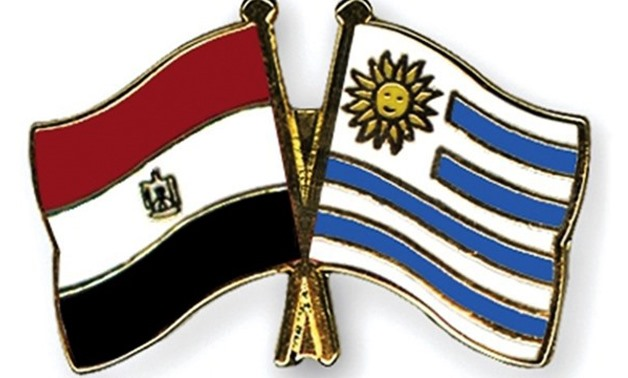Egyptian and Uruguay flags- Courtesy of State Information Service