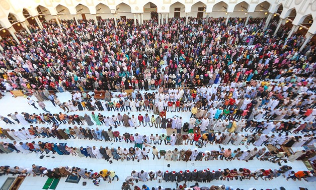 Egyptians are performing Eid al-Adha prayer at Al-Azhar Mosque in Old Cairo on August 11, 2019- Egypt Today- Karim Abdel-Aziz.