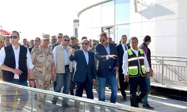 Shortly after performing Eid al-Adha prayers on Sunday, President Abdel Fatah el Sisi head to Massa Alamein resort as he took a tour there and was briefed on the progress of construction operation in Alamein City - Press Photo