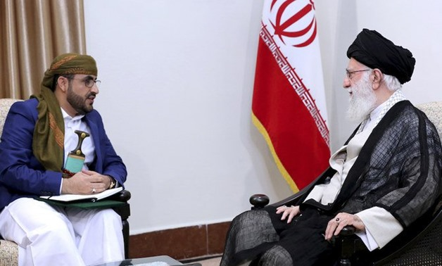 Iranian supreme leader, Supreme Leader Ayatollah Ali Khamenei with Mohammed Abdul-Salam of the Houthi militants in Tehran on Tuesday. (AP)