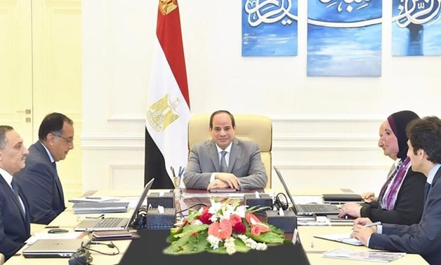 President Sisi meets with Prime Minister Mostafa Madbouli; Minister of Trade and Industry Amr Nassar; Head of the Micro, Small and Medium Enterprises Development Agency (MSMEDA) Nevin Game'; and Head of the National Center for Planning State Land Uses Nas
