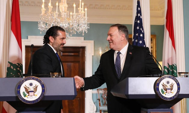US Secretary of State Mike Pompeo and Lebanese PM Saad Hariri during their meeting in Washington. Reuters