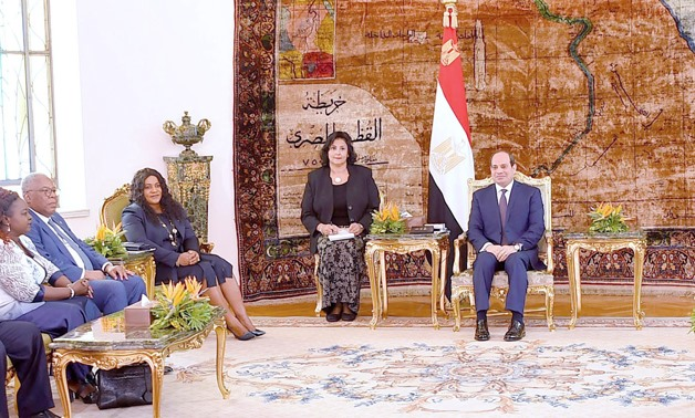 President Abdel Fatah al-Sisi meets with Speaker of the Togolese National Assembly Yawa Tsegan and he accompanying delegation in Cairo on Thursday, August 22, 2019- press photo