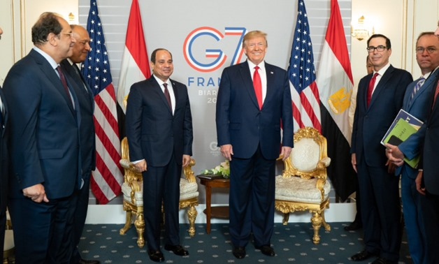 President Abdel Fattah al-Sisi meets with US President Donald Trump on the sidelines of the G7 Summit in Biarritz - Courtesy of Trump's Twitter account.