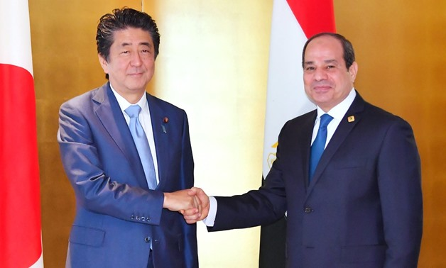 President Abdel Fatah al Sisi met on Wednesday with Japanese  Prime Minister Shinzo Abe on the sideline of the Seventh Tokyo International Conference on African Development (TICAD) - Pres Photo