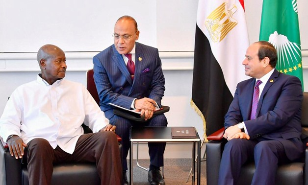 President Abdel fatah al-Sisi (R ) meets with Ugandan counterpart  Yoweri Museveni in Japan, on the sidelines of  2019 Tokyo International Conference on Africa's Development (TICAD)- Press photo