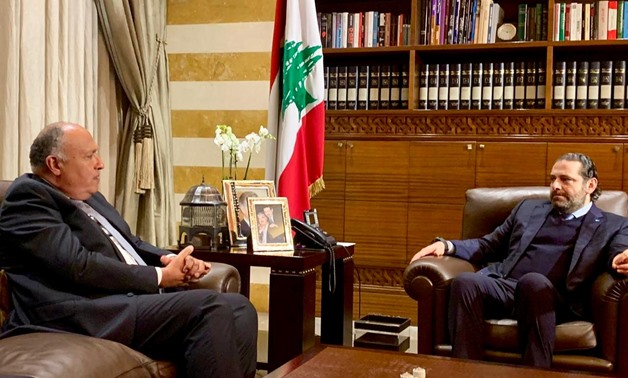 FILE - Sameh Shoukri (L) and Saad al-Hariri (R) - Courtesy of the Egyptian Foreign Ministry
