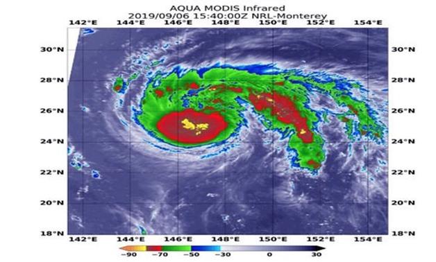 Typhoon Faxai satellite image: Faxai through Tuesday (Image: AccuWeather)