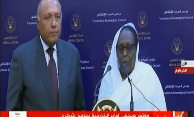 Egypt's Foreign Minister Sameh Shoukry with his Sudanese counterpart Asmaa Mohamed Abdalla in a joint press conference, Monday Sept. 9. Via YouTube