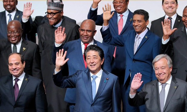 African leaders along with UN Secretary General and Japanese Prime Minister Abe in group photo