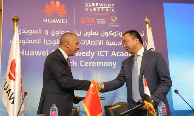 Huawei Regional EBG President Michael Li and Chairman of Elsewedy Electric Foundation Ahmed El-Sewedy in a ceremony to sign an MoU to implement Huawei's training programs within Elsewedy Technical Academy (STA) in Cairo, Egypt. September 10, 2019. Press P