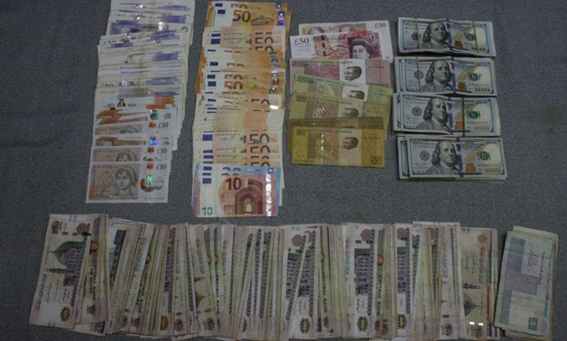 Amounts of local and foreign currencies found in the acquisition of 16 Muslim Brotherhood members arrested for committing several crimes and plotting terror attacks in September 2019. Press Photo