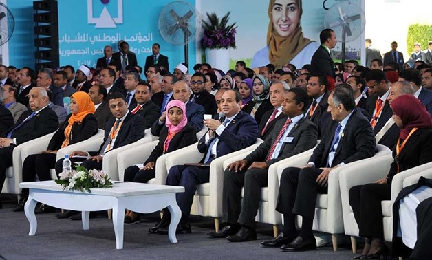 FILE - President Abdel Fattah al-Sisi speaks during a National Youth Conference edition in 2017