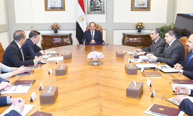 Sisi meets with Russian Rosatom State Atomiс Energy Corporation CEO Alexey Likhachev in Cairo on September 12, 2019- Press photo