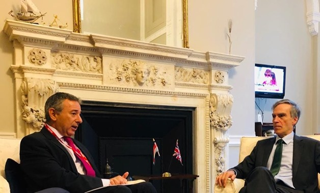 Egyptian Ambassador Tarek Adel meets with British Secretary of State for Middle East and North Africa Andrew Morrison - press photo