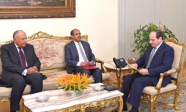President Abdel Fatah al-Sisi meets with Djibouti Foreign Minister Mahamoud Ali Youssouf in Cairo on September 12, 2019, press photo