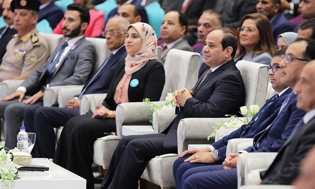 President Abdel Fattah al-Sisi during the second session at the 8th edition of the National Youth Conference in Cairo- press photo
