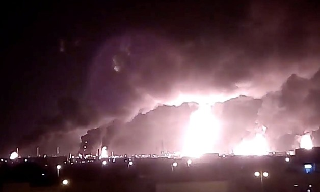 Yemen's Houthi rebels claimed responsibility for drone attacks on the two oil refineries - Still image from footage