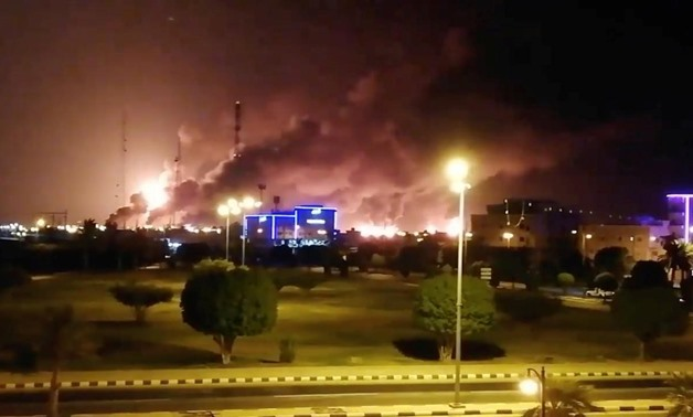 Smoke is seen following a fire at an Aramco factory in Abqaiq, Saudi Arabia, September 14, 2019 in this picture obtained from social media. VIDEOS OBTAINED BY REUTERS/via REUTERS