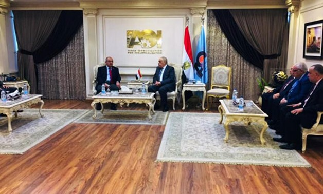 Chairman of the Arab Organization for Industrialization (AOI) Abdel Moneim al-Taras and a delegation from the University of Asyut. September 15, 2019. Press Photo