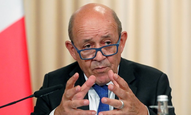 French Foreign Minister Jean-Yves Le Drian gestures as he speaks after a meeting of the Russian-French Security Cooperation Council in Moscow, Russia, September 9, 2019. REUTERS/Shamil Zhumatov