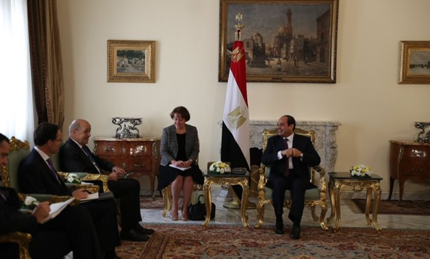 President Abdel Fatah al-Sisi met French Foreign Minister Jean-Yves Le Drian - Press Photo