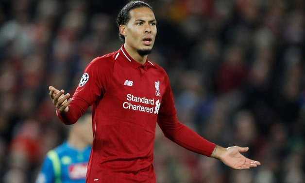 Soccer Football - Champions League - Group Stage - Group C - Liverpool v Napoli - Anfield, Liverpool, Britain - December 11, 2018 Liverpool's Virgil van Dijk reacts Action Images via Reuters/Carl Recine