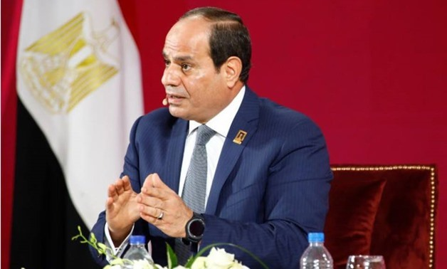 FILE- President Abdel Fatah al-Sisi during a conference in Egypt