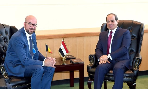President Abdel Fattah El Sisi met with Belgian Prime Minister Charles Michel on Monday on the sidelines of the 74th Session of the UNGA meetings in New York- press photo