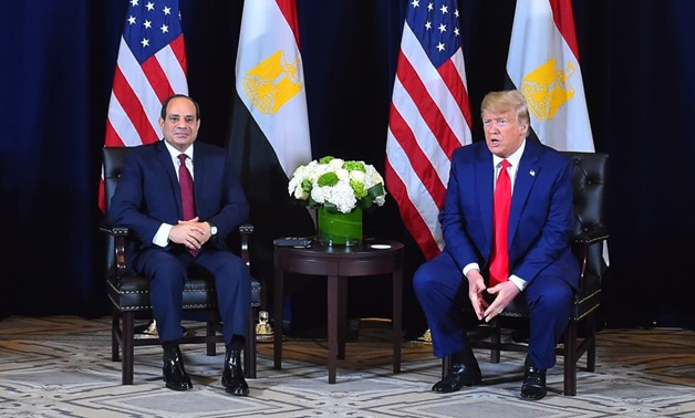 U.S. President Donald Trump meets with Egypt's President Abdel Fattah el-Sisi on the sidelines of the annual United Nations General Assembly in New York City, New York, U.S., September 23, 2019. REUTERS/Jonathan Ernst