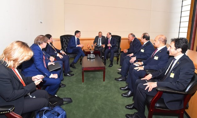 President Abdel Fattah al-Sisi met on Tuesday with Spain Prime Minister Pedro Sánchez on the sidelines of the 74th session of the United Nations General Assembly (UNGA) in New York