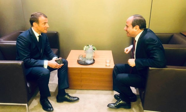 President Abdel Fattah al Sisi met on Tuesday with his French counterpart Emmanuel Macron on the sidelines of the 74th session of the United Nations General Assembly (UNGA) in New York - Press Photo