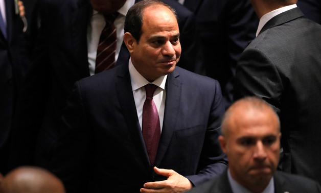 Egypt's President Abdel Fattah Al Sisi arrives ahead of the start of the 74th session of the United Nations General Assembly at U.N. headquarters in New York City, New York, U.S., September 24, 2019. REUTERS/Lucas Jackson