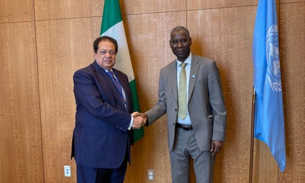 United Nations General Assembly Tijjani Muhammad in his meeting with Eygptian businessman and  Honorary President of the Euro-Mediterranean Parliament Assembly (EMPA) Mohamed Abou el-Enein- press photo