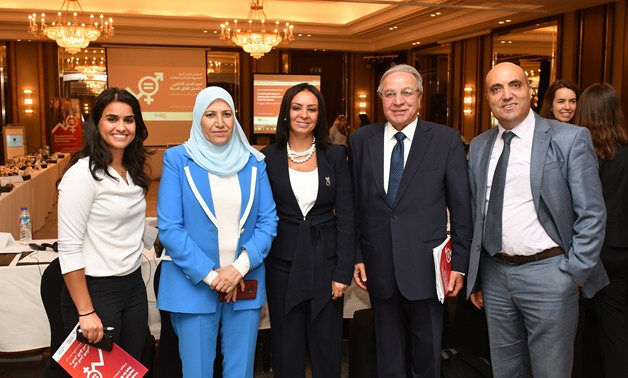 """Maya Morsi and representatives of Jordan, Palestine, and international organizations in the launching of a joint programme titled """"Promoting Productive Employment and Decent Work for Women in Egypt, Jordan, and Palestine."""" October 3, 2019. Press Photo"""